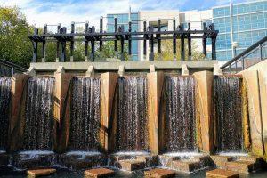 Indianapolis canal walk waterfall